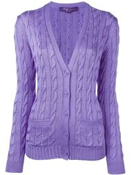 cable knit button down cardigan Ralph Lauren Purple