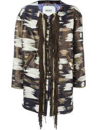 fringed trim jacquard coat  Bazar Deluxe
