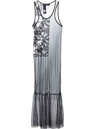 прозрачное длинное платье с вышивкой Haider Ackermann