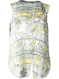 floral and stripe print draped effect tank top Astraet