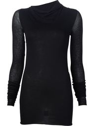 semi sheer sleeve asymmetric roll neck knitted top Rick Owens Lilies