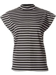 stripe multipattern high neck T-shirt Astraet