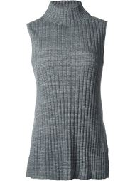 ribbed high neck long fit tank top Astraet