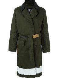 contrast stripe belted coat  Bazar Deluxe
