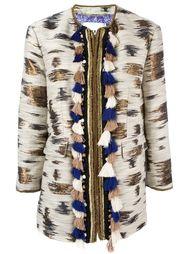 pom-pom trim jacquard coat  Bazar Deluxe