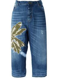 укороченные джинсы с нашивкой Laneus