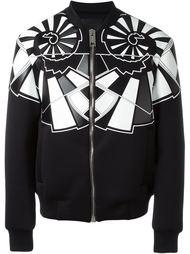 куртка-бомбер с геометрическими элементами Les Hommes