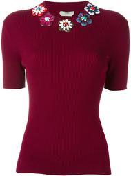 футболка с цветочной аппликацией Fendi
