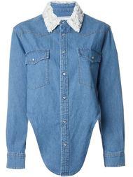 embellished collar asymmetric denim shirt  Forte Couture