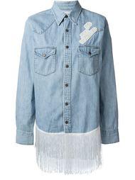 fringed longsleeved denim shirt  Forte Couture