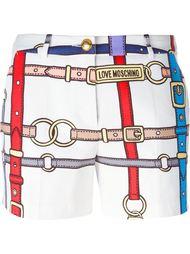 шорты с принтом ремней Love Moschino
