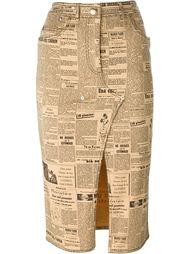 юбка-карандаш с газетным принтом John Galliano Vintage