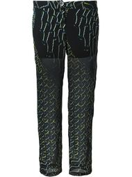 semi sheer printed cropped trousers Lala Berlin