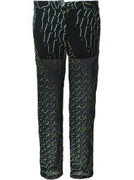semi sheer printed cropped trousers Lala Berlin