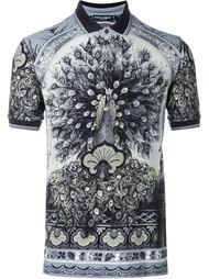 футболка-поло с принтом павлина Dolce & Gabbana