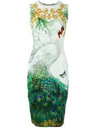приталенное платье с принтом лебедей Versace Collection