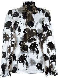 прозрачная блузка с вышивкой роз Blumarine