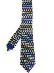 галстук с узором в цветки клевера Hermès Vintage