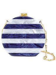 'Oscar' striped snap closure round clutch bag Edie Parker