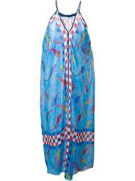 длинное драпированное платье с принтом рыб Wunderkind