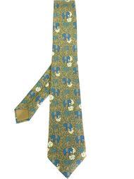 галстук с принтом слонов Hermès Vintage