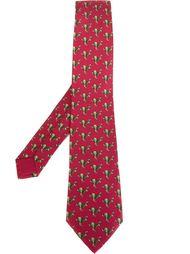 галстук с принтом зайцев Hermès Vintage