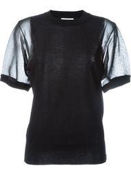 вязаный топ с прозрачными рукавами  DKNY