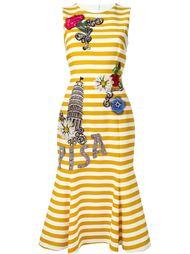 декорированное полосатое платье Dolce & Gabbana