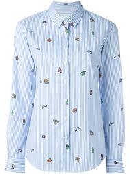 striped icon print button down shirt Mira Mikati