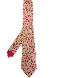 галстук с принтом листьев клевера Hermès Vintage