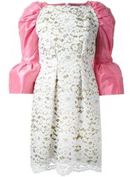 кружевное платье с контрастными рукавами  DressCamp
