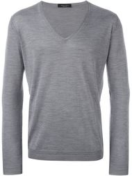 v neck fitted jumper Roberto Collina