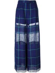 wide-leg check pattern trousers MSGM