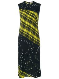 Sleeveless Tartan and Floral Print Dress Preen Line