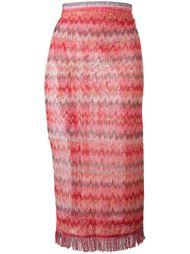 полупрозрачная фактурная юбка с бахромой  Missoni
