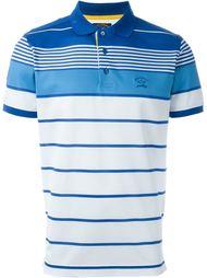полосатая футболка-поло с контрастными панелями Paul & Shark