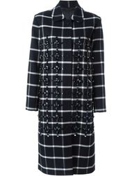 'Norine' check coat Mother Of Pearl