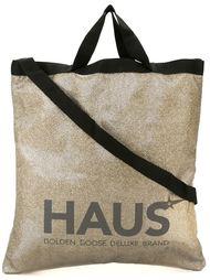 блестящая сумка-тоут с принтом логотипа Haus