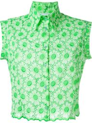flower motif perforated shirt Daizy Shely