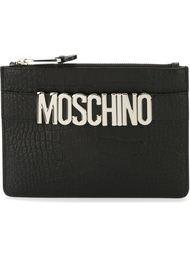 logo plaque clutch Moschino