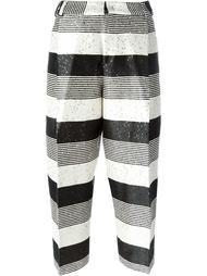 полосатые брюки с пайетками Pt01