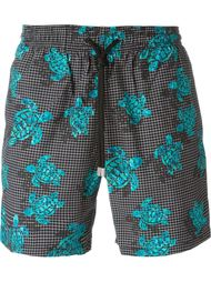 checked turtle print swim shorts Vilebrequin
