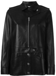 button and zip up mid length biker jacket Courrèges