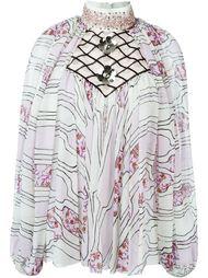 декорированная  блузка с цветочным принтом   Giambattista Valli