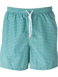 square print swim shorts Kiton