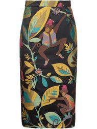 юбка-карандаш  с вышитым принтом обезьян Christian Siriano