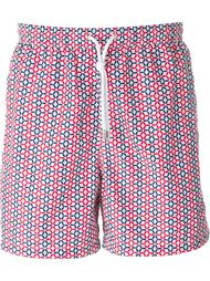 tile print swim shorts Kiton