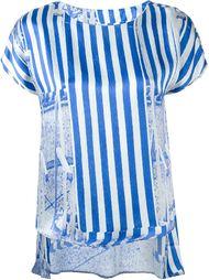 multi stripe print low back T-shirt  Ultràchic