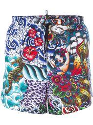 tattoo print swim shorts Dsquared2 Beachwear