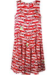striped beach motif print sleeveless dress  Ultràchic